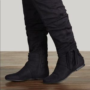 JustFab Rommy Black Thigh High Boots